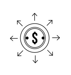 line finance coin currency cash money vector image