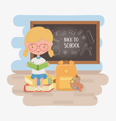 little student girl with chalkboard and school vector image