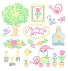 Lovely garden set vector