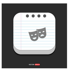 Mask icon gray icon on notepad style template eps vector
