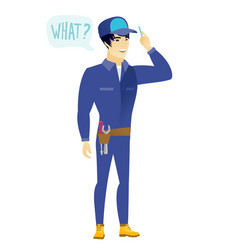 Mechanic with question what in speech bubble vector