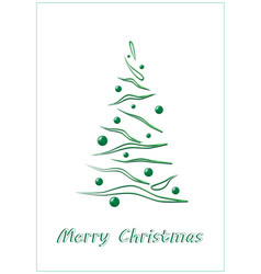 merry christmas green elegant christmas tree on a vector image