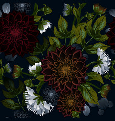 Modern trendy seamless floral pattern of burgundy vector