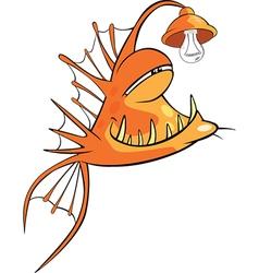 Monk fish Deep-water fish Cartoon vector