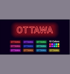 Neon name of ottawa city vector