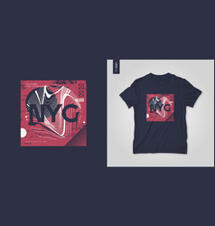 new york city t-shirt abstract geometric vector image