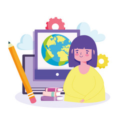 Online education girl student computer books vector