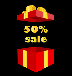 Opened gift box with 50 percent discount gift vector