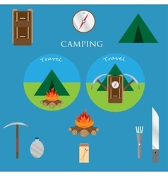 Outdoor objects set Camping icons vector image