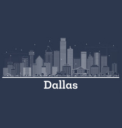 Outline dallas texas city skyline with white vector