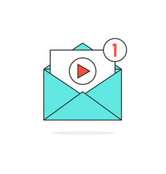 Outline video notification in letter vector