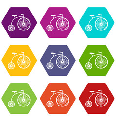 penny-farthing icon set color hexahedron vector image