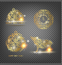 pig decoration - symbol 2019 year golden swine vector image