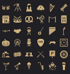 Proceeding icons set simple style vector