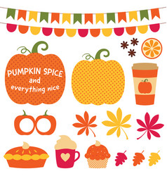Pumpkin spice clip art set vector