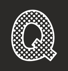 Q alphabet letter with white polka dots on black vector image