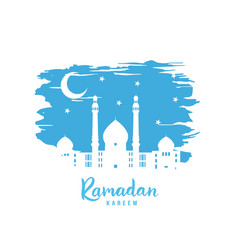 Ramadan kareem white mosque vector