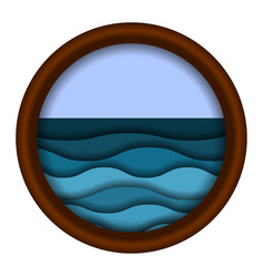 ravel icon with sea waves blue and turquoise vector image