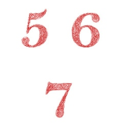 Red sketch font set - numbers 5 6 7 vector