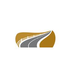 road icon asphalt roadside sign avenue highway vector image