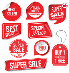 Sale stickers and tags red design 02 vector