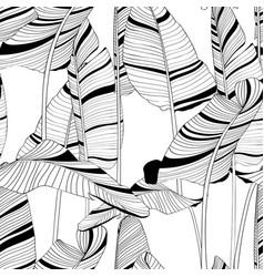 seamless banana leaf pattern background vector image