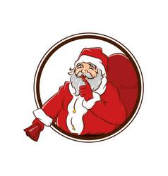 Secret santa claus hold big sack christmas badge vector