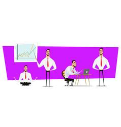 set of businessmen cartoon character design with vector image