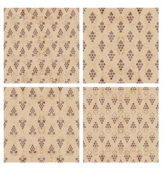 set of grunge seamless pattern of grapes vector image