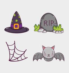 Set of halloween cartoons vector