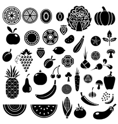 Silhouette of fruits and vegetables vector image