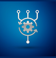 Silver algorithm icon isolated on blue background vector