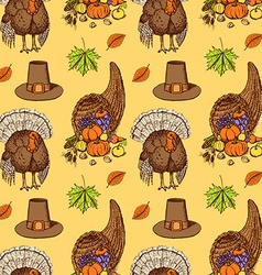 Sketch Thanksgiving seamless pattern vector image vector image