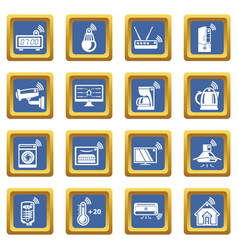 Smart home icons set blue square vector