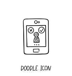 Smartphone doodle icon vector