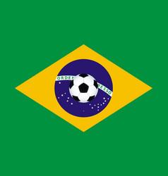 Soccer ball on Brazil flag vector image