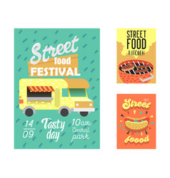Street food festival poster fastfood outdoor event vector