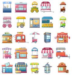 Street food kiosk icons set cartoon style vector