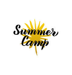 summer camp calligraphy vector image