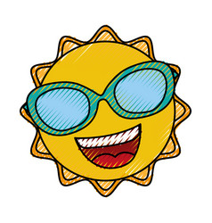 summer sun with sunglasses kawaii character vector image