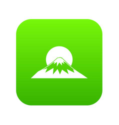 sun and mountain icon digital green vector image