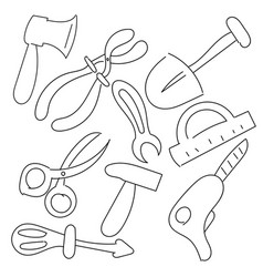 tool set hand draw vector image