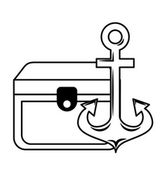 treasure chest and anchor maritime vector image