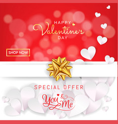 valentines day sale banner background gift box vector image