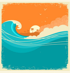Vintage seascape with island on old paper poster vector