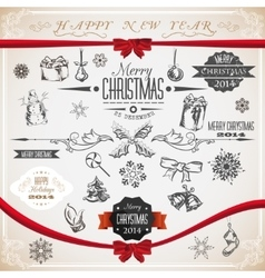 Vintage set of Christmas icons and symbols vector image