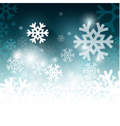 white and blue winter background with snowflakes vector image
