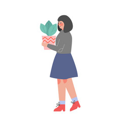 woman carrying flowerpot with green plant girl vector image