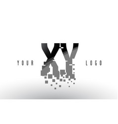 Xy x y pixel letter logo with digital shattered vector