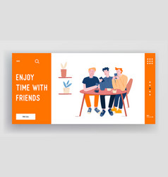 young men sitting in cafe chatting in mobile phone vector image